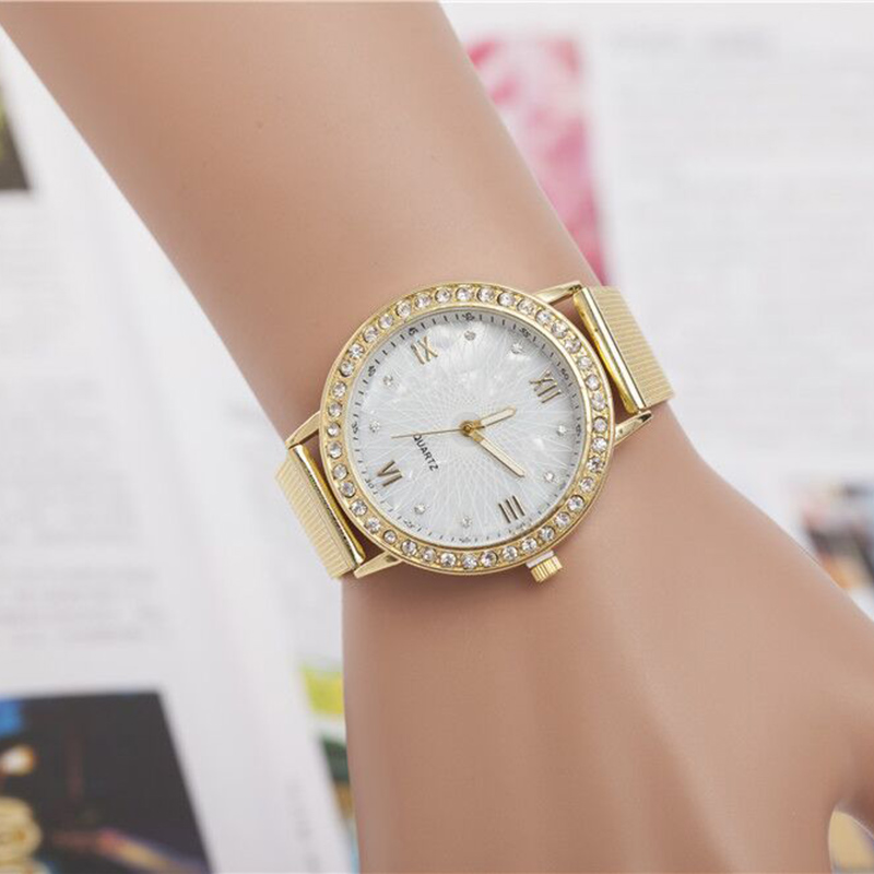 Simple Fashion Women Bracelet Watches Gold Diamond Steel Strap Wristwatch Ladies Clock Dress Quartz Watch Gift  LL@17 2016 women diamond watches steel band vintage bracelet watch high quality ladies quartz watch