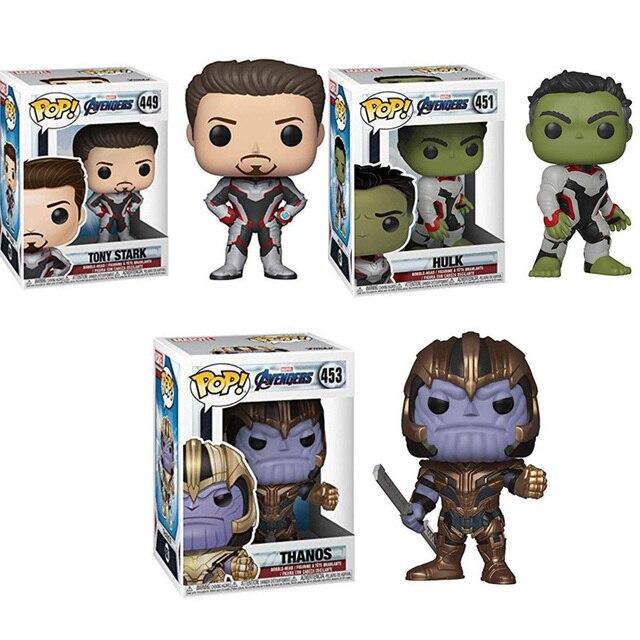 FUNKO POP Marvel comics Avengers TONY STARK Endgame THANOS HULK Action Figure Coleção Modelo Brinquedos para Presente de Natal Das Crianças