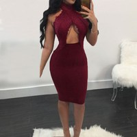 Sexy Off Shoulder Pencil Package Hip Dresses 2017Summer Women Bodycon Dress Lace Splice High Waist Backless Vestidos