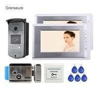 Бесплатная доставка новой квартире 7 Видеодомофоны телефон двери Системы 2 монитора + RFID Доступа Камера + Электронные дверные замки в наличи