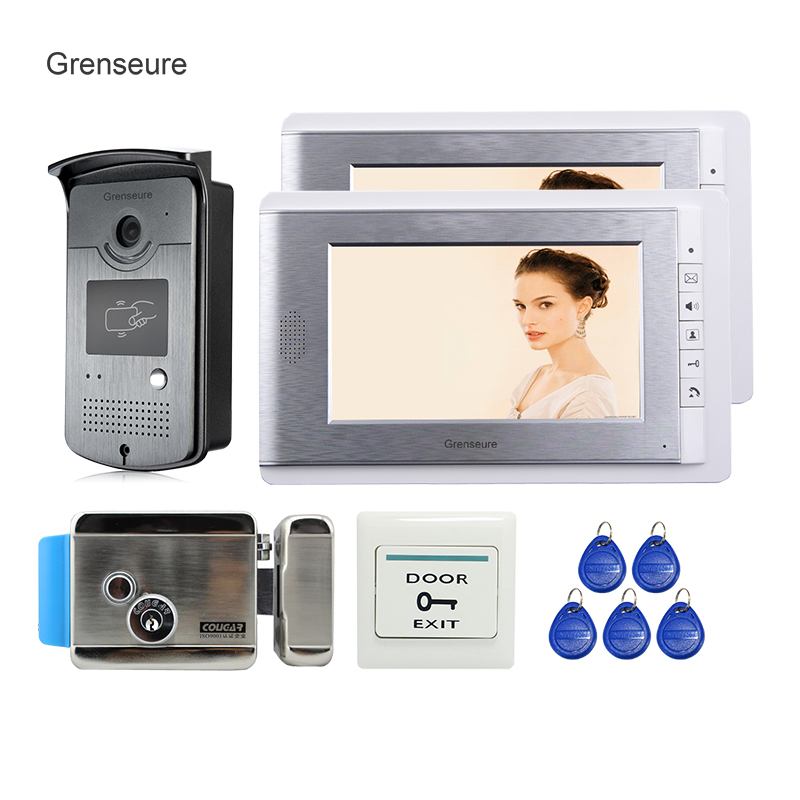 Free Shipping New Apartment 7 Video Intercom Door Phone System 2 Monitors + RFID Access Camera + Electronic Door Lock In Stock my apartment