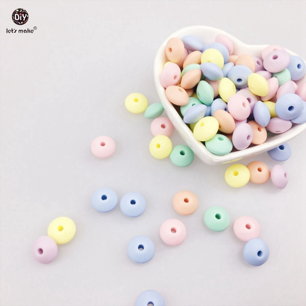 Lets Make Silicone Saucer Loose Beads Abacus 50pc Soft Pastel Candy Color Lentil Baby Teether Diy Crafts Chew Baby Beads