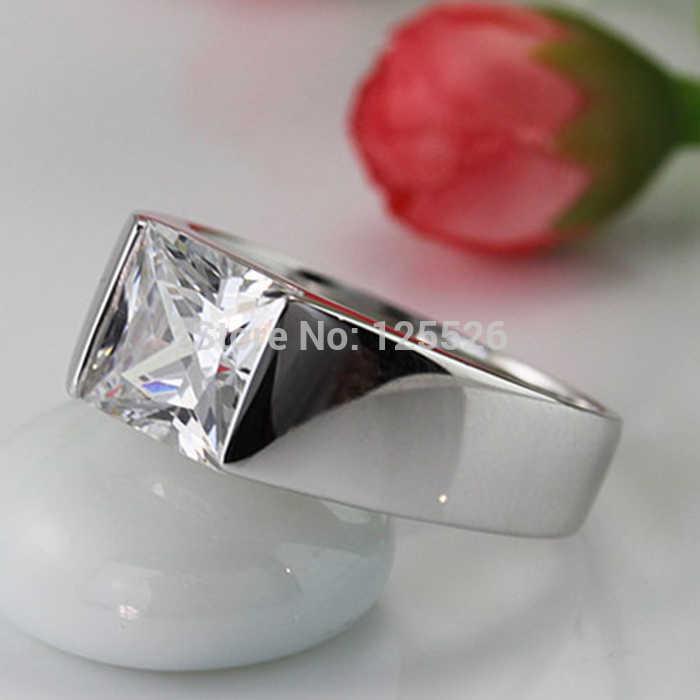 Choucong แหวนเจ้าหญิงตัด 3ct AAAAA หิน CZ 925 เงินสเตอร์ลิงแหวนหมั้นสำหรับชายขนาด 8 -12 เครื่องประดับ