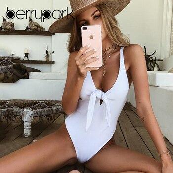 BerryPark 2019 Jeden Kawałek Bikini Swimsuit Słodkie Łuk Dekolt Stroje Kąpielowe Strój Kąpielowy Kobiety Plaża Swim Wear Backless Bandaż Body