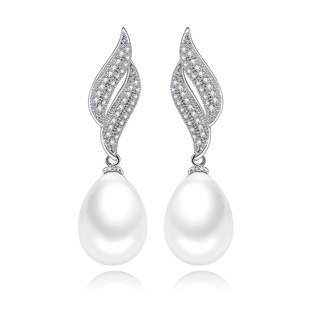 Fashion Classic Teardrop shape Pearl Drop Earrings with Double S Word Paved Shining Cubic Zircon Crystal Jewelry for women Party