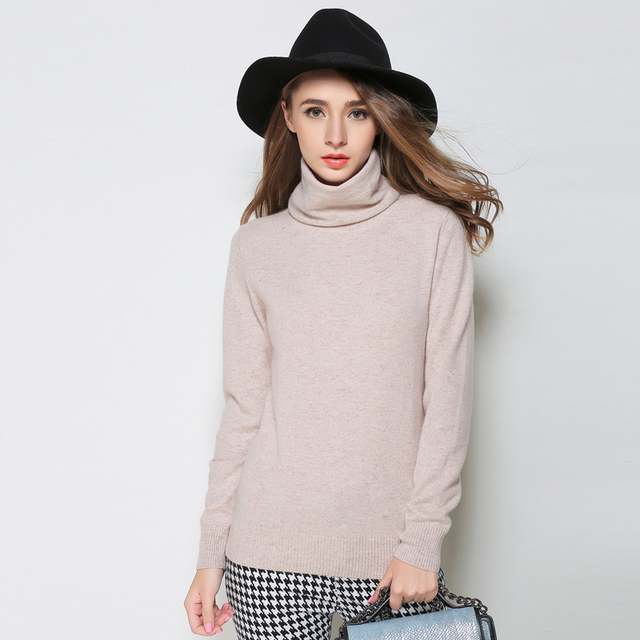 Women Sweater Turtleneck Winter 100% goat Cashmere Warm Pullovers Female Hight Quality Knitted Coat Hot Sale Jackets for ladies