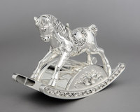 Romantic Roll Around Silver Lucky Rocking Horse Music Box