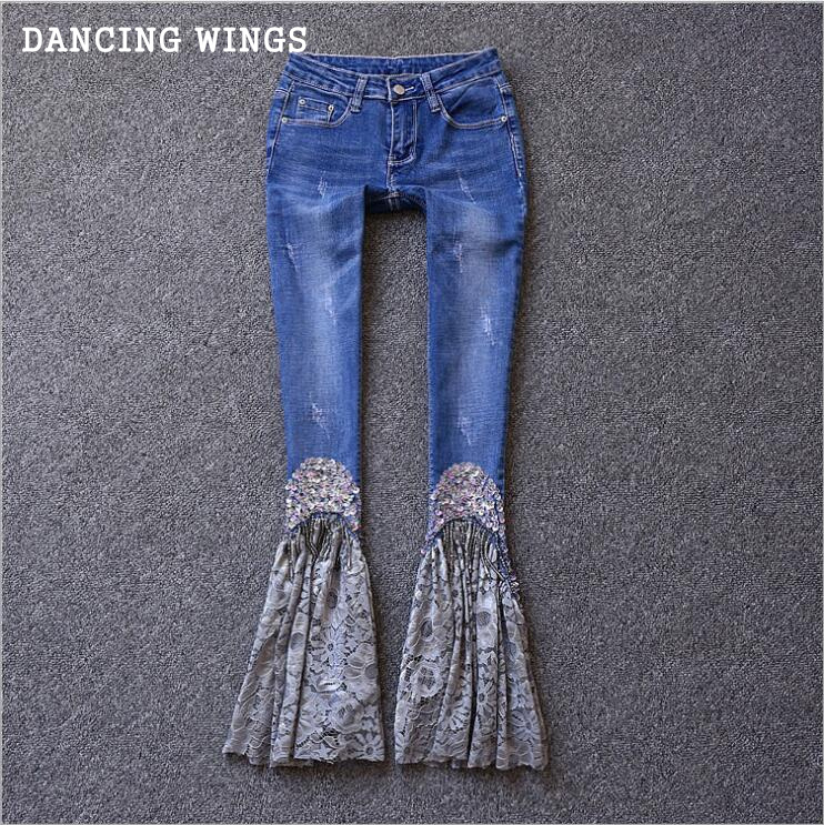 Autumn and winter Lace Patchwork Flare Jeans retro beading nine points stretch skinny denim pants women's Bell Bottoms Jeans