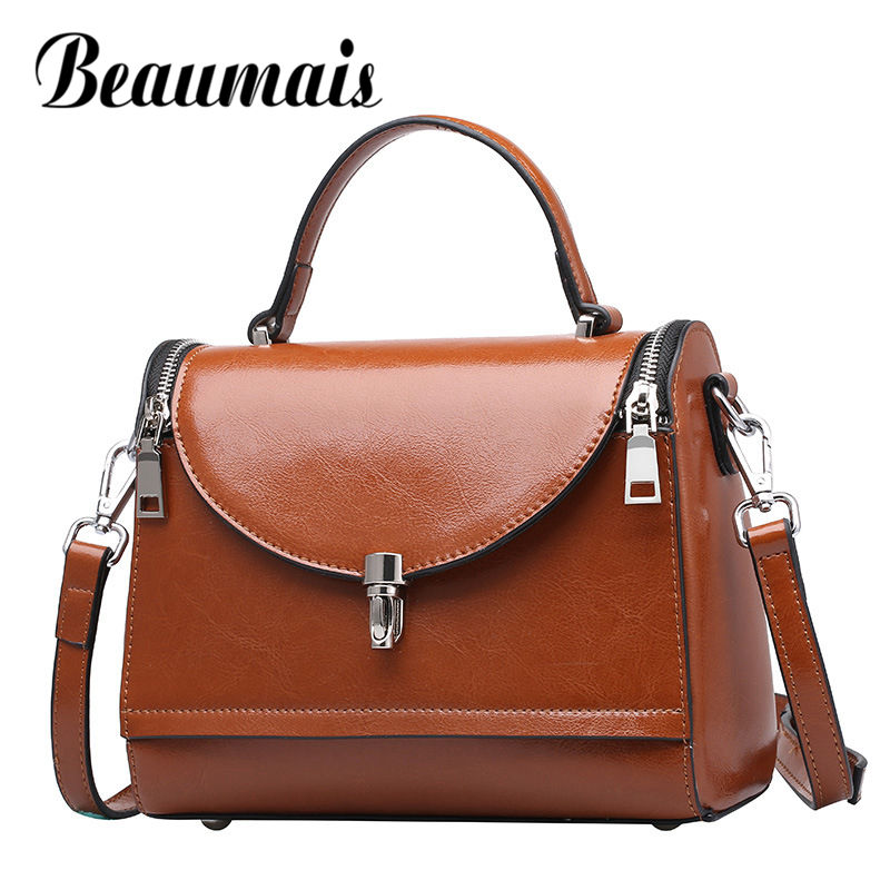 Beaumais Fashion Oil Wax Leather Bag For Women 2017 Ladies Genuine Leather Shoulder Bag Women Messenger Bags Luxury Brand DF0195 new 2017 fashion brand genuine leather women handbag europe and america oil wax leather shoulder bag casual women