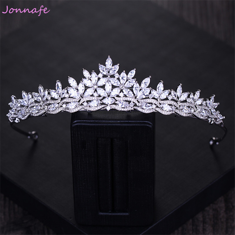 Jonnafe Shining AAA Zirconia Bridal Tiara Headband Silver Wedding Crown Hair Accessories Women Party Prom Hair Jewelry Hairband цена 2017