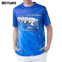 BOYUAN Blue Casual Printed T Shirt Men Summer Short Sleeve Cotton T Shirt Male EU Size