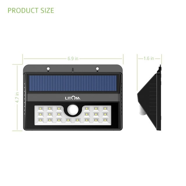 Litom 2 Packs IP55 Weatherproof 20 LED Solar Sensor Powered Wall Lights Security Motion Sensor Lamp for Outdoor
