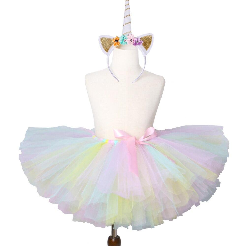 1 Set Pastel Rainbow Unicorn Tutu Skirt Baby Kids Dance Tutu Birthday Party Tulle Skirt Girls Children Halloween Unicorn Costume easter sparkle 3rd hot pink white dot top rainbow stripe skirt set 1 8y mamh170