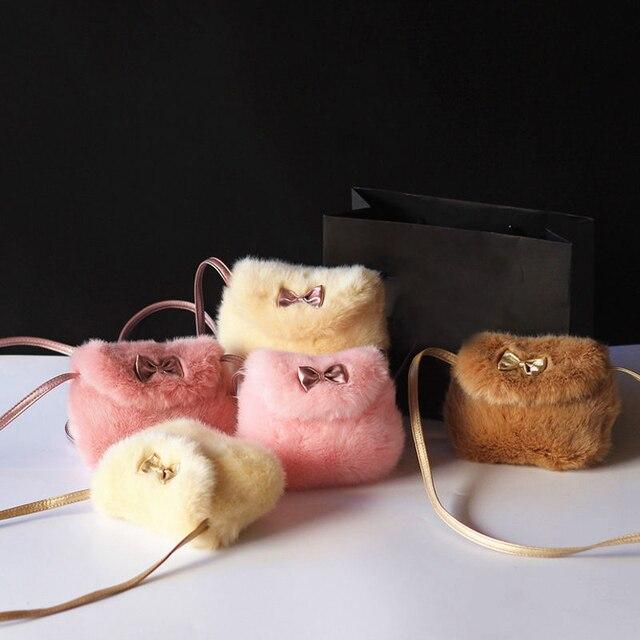 New Girls Kids Purse Bowknot Mini Artificial Fur Children Handbags Cross Body Comfortable Cute Children Handbag
