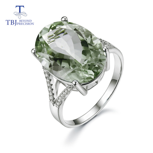 Image 1 - Big green amethyst Ring natural gemstone ring 925 sterling silver fine jewelry for girls nice Black Friday & Christmas gift