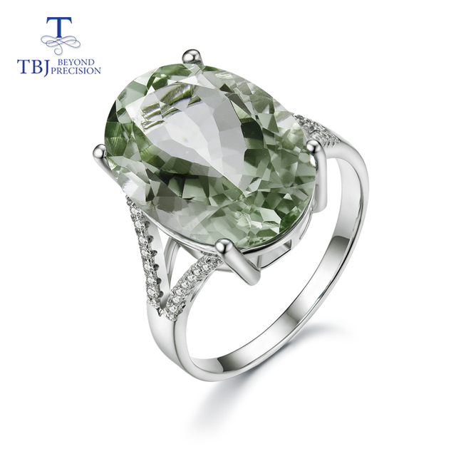 Big green amethyst Ring natural gemstone ring 925 sterling silver fine jewelry for girls nice Black Friday & Christmas gift