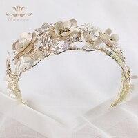 Bavoen cristalina Hecha A Mano con cuentas cintas para el pelo de la flor artificial accesorios de la perla de la novia accesorios del vestido de boda