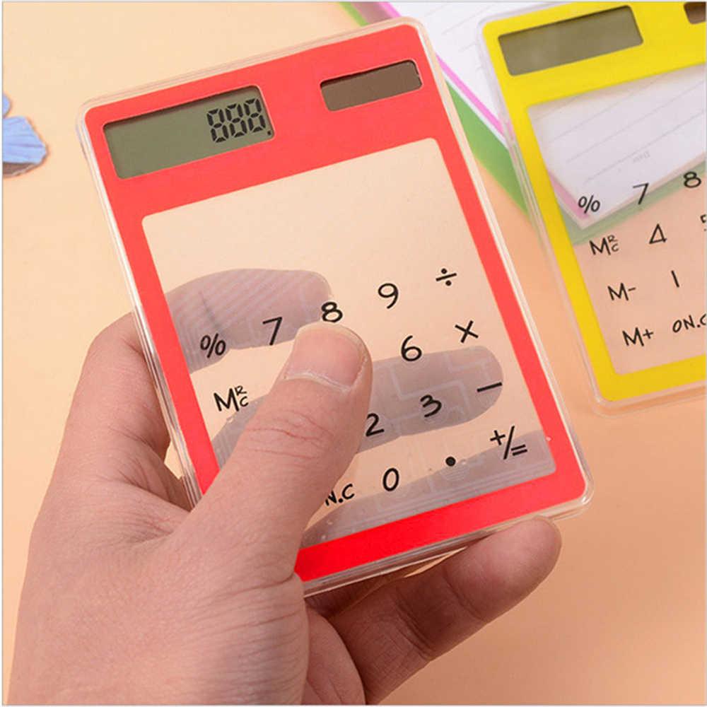 Gadżet naukowych kalkulator na baterię słoneczną ultra cienki przezroczysty ekran dotykowy Panel Mini kalkulatory zabawka dziecięca