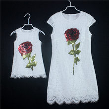 2017 Summer white lace bling rose plus large size mommy and me kids dress birthday sundress family look mother daughter dresses
