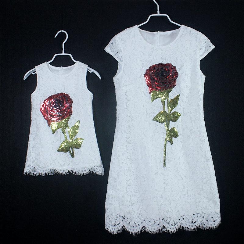 2017 Літо білий мереживо bling троянда - Дитячий одяг - фото 1