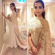 2016 Muslim Evening Dresses Sheath High Collar Champagne Lace Satin Islamic Dubai Abaya Kaftan Long Evening