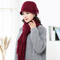 AOVKOVSA Rabbit Hair Scarf Hats Suit For Women Winter Wool Cap Fur Pompom Gorro Chapeu Feminino