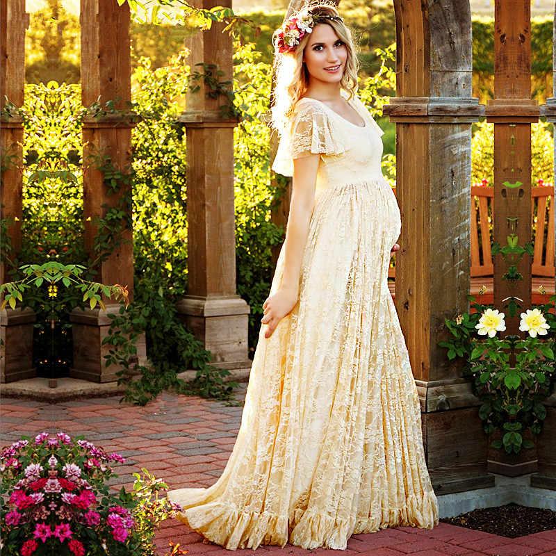 52446abf6b New White Pink Maternity Dress Pregnancy Photo Props Shoot Pregnant Women  Lady Elegant Vestidos Lace Party Formal Evening Dress