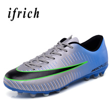 Soccer Sneakers Comfortable Light Sport Shoes Long Spikes Leather Trainning Shoes Outdoor Men Football Shoes original new arrival nike men s hypervenom phelon ii tf light comfortable football soccer shoes sneakers