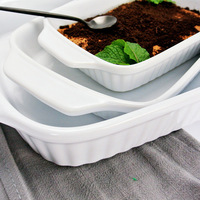 Nordic Style Ceramic Lasagna Bake ware Baker dishes White Ceramic double handle baking dishes 1 piece