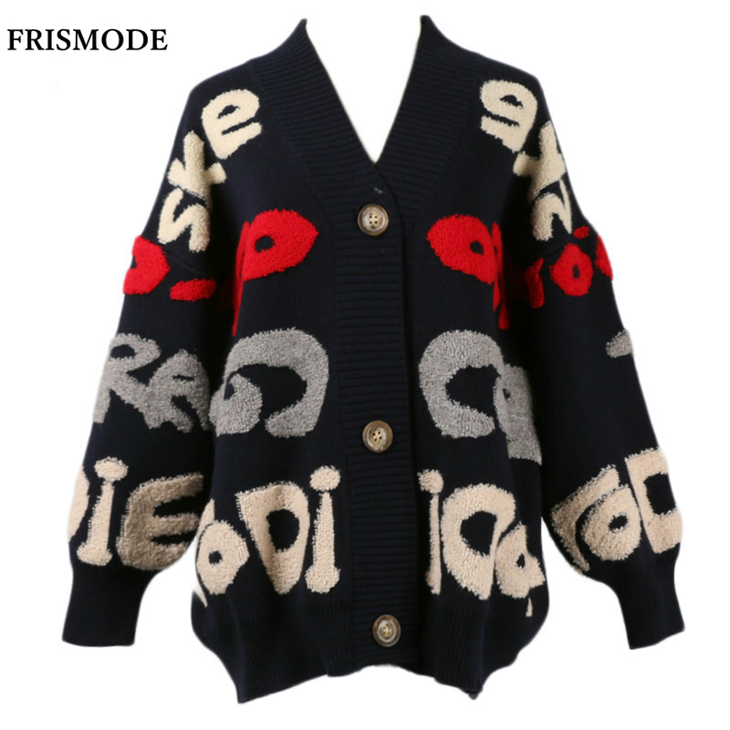 b39798890f35 Jacket Lazy-Sweater Knitted-Cardigan Letter-Sleeve Loose Korean-Version  Thick Autumn