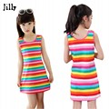 2017 Hot Sale 3 4 5 7 8 10 11 12 15 Years Girls Stripe Seeveless Rainbow Cotton Brand Summer Girl Dress Tutu Dresses For Girls