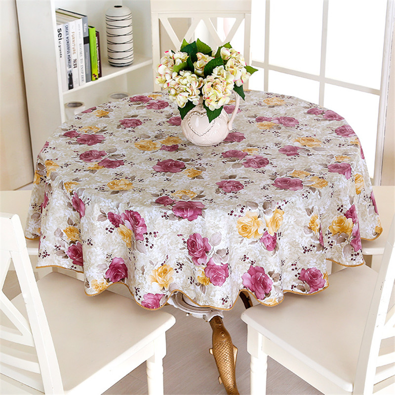 PEVA Printed Table Cloth Waterproof Oilproof Backside Ati-slip Flannel Round Tablecloth Table Cover For Home Restaurant