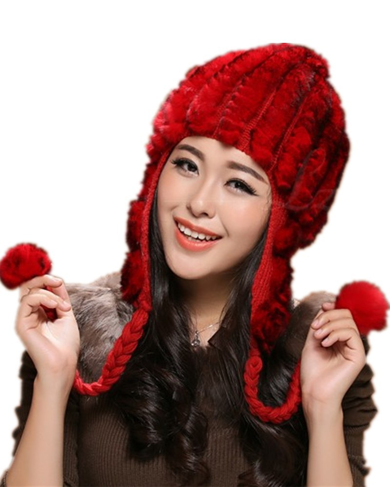 e7e0f1dfaa H350 real Rex rabbit hand knitted earflap flower cap for autumn winter warm  ,red brown black women fur hats-in Skullies & Beanies from Women's Clothing  & ...