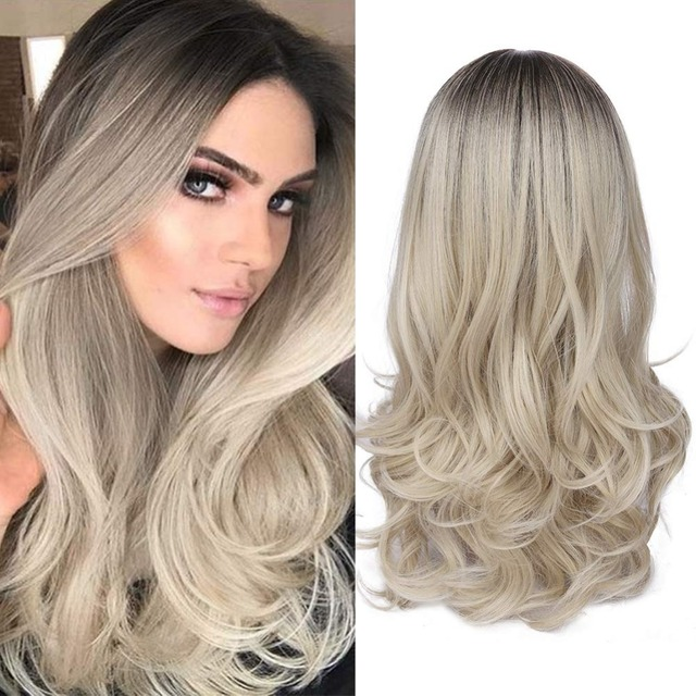 Mixed Black Ash Light Brown Blonde Synthetic Wig Body Wave Middle Part Heat Resistant Fiber For Black Women Cosplay Long Wigs