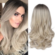 цена на FAVEMixed Black Ash Light Brown Blonde Synthetic Wig Body Wave Middle Part Heat Resistant Fiber For Black Women Cosplay Long Wig