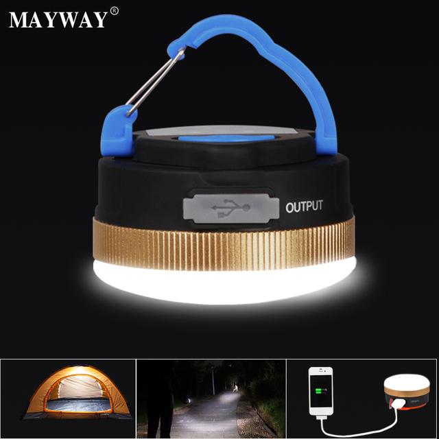 Lámpara Que Acampa al aire libre Recargable USB Led Lámpara Portátil 1800 mAh banco de potencia Pantalla Círculo Tent Camping Luz Colgante de forma segura