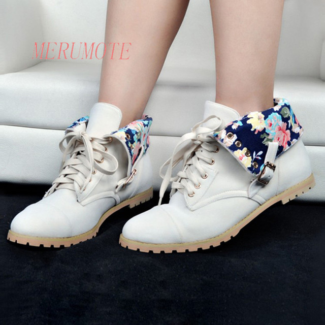 85298d552ad MERUMOTE Women s Flats Heel Front Straps Lace UP Round Toe Lady Casual Winter  Ankle Boots EU 34-47