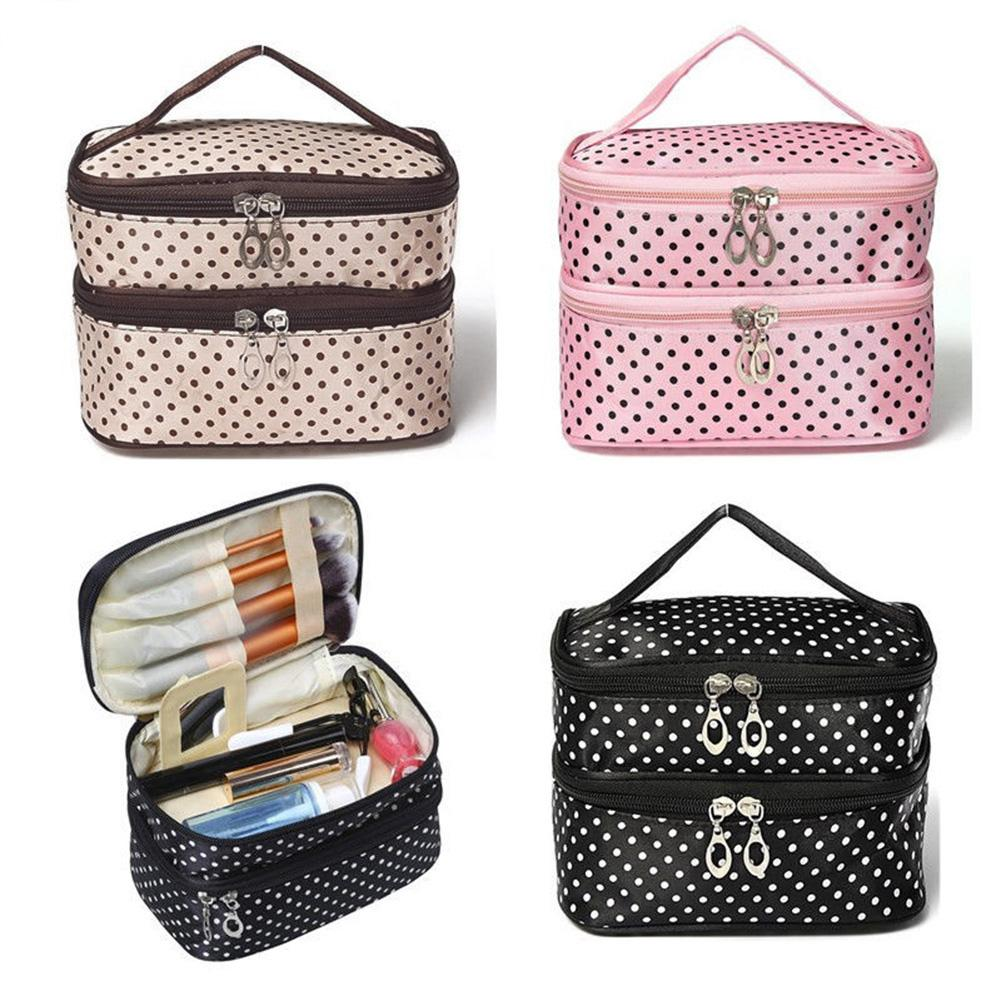 Travel Polka Dot Double Layers Big Woman Cosmetic Bag Toiletry Organizer Storage Makeup Bag Case