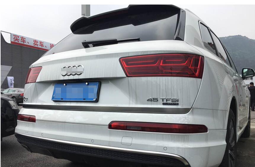 Car-styling Matt Stainless Rear Tailgate Door Trunk Gate Bottom Lid Cover Trim Strip 1pcs for Audi Q7 4M 2016 2017 car auto accessories rear trunk molding lid cover trim rear trunk trim for nissan sunny versa 2011 abs chrome 1pc per set