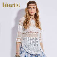 Bohoartist Women T Shirts 2017 Autumn Lace Hollow Out Half Sleeve White Sexy Clothing Indie Folk