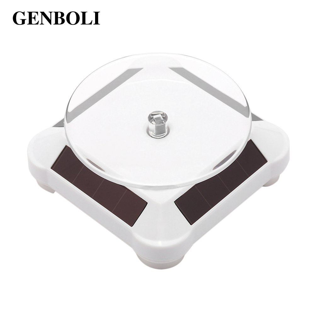 360 Rotating Turntable Display Stand With Solar Power Battery Turn Table Plate For Ring Necklace Bracelet Jewelry