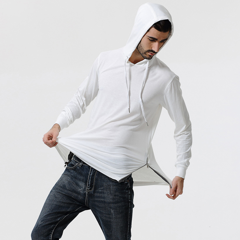 Fashion T-Shirt Men's Long Sleeve Hooded Camouflage T Shirt Slim Fit Men Cotton T-Shirt High Low Side Casual T Shirts size XXXL
