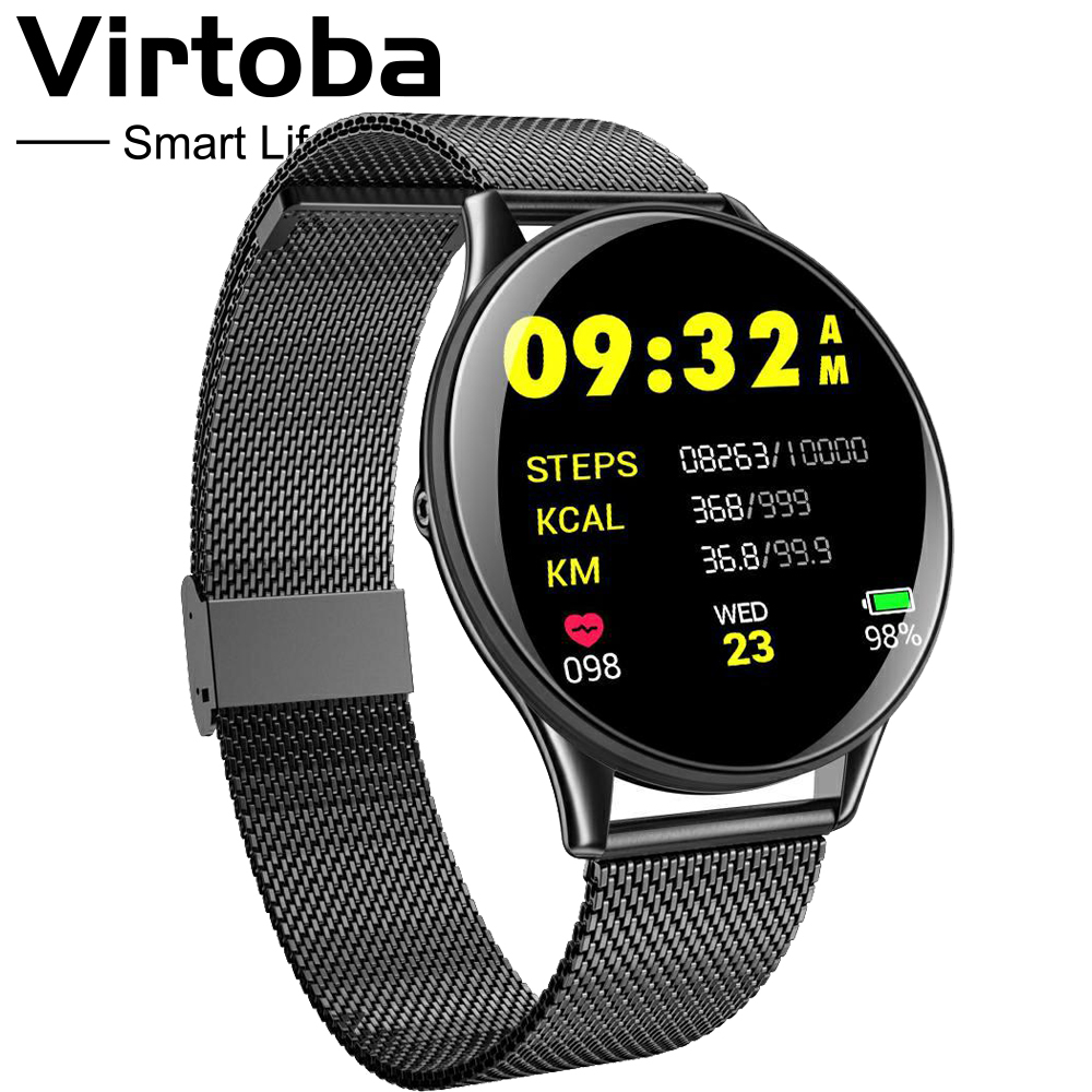 Virtoba CN58 Tempered Glass Touch Smart Watch Man Women Blood Pressure Oxygen IP68 Waterproof Activity Fitness Tracker PK Q8 T3 in Smart Watches from Consumer Electronics