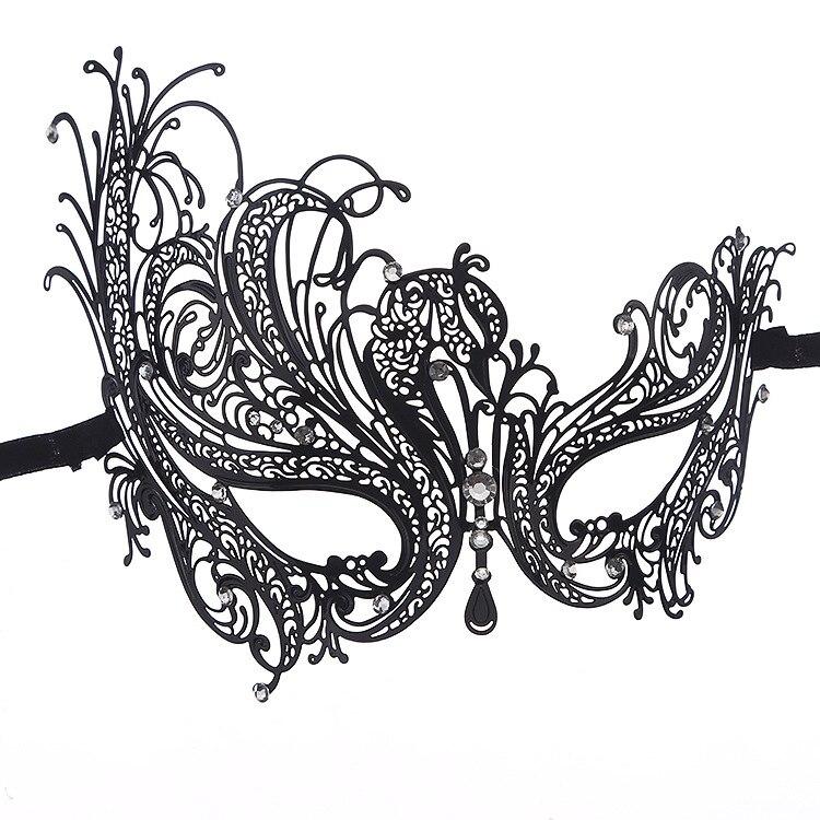 Venetian Masquerade Filigree Metal Eye Mask Rhinestone Costume Accessory Black