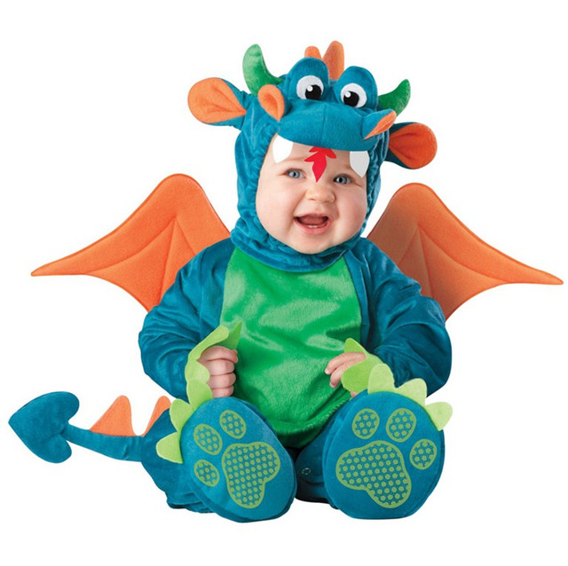Baby Christmas Halloween Cosplay Costume Blue dinosaur red sprite Jumpsuit Boys Girls Clothes Set Kids Outfits