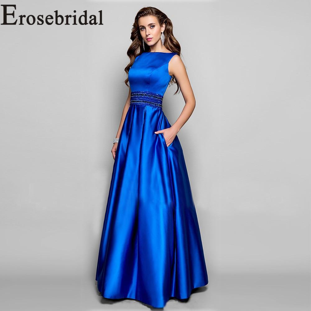 Vestido de noche de satén azul real Vestido largo de fiesta con cuentas vestidos de noche formales para mujer 2019 bata de noche - 4