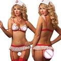 Real Disfraces Sexy Babydoll Caliente 2017 Ladies Sexy Ropa Interior Escarpada de la ropa Interior Uniforme de Enfermera Traviesa Cruz Sujetador + t-pantalones erótica