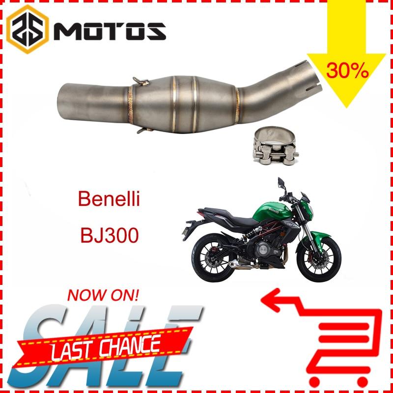 ZS MOTOS Motorcycle Benelli BJ300GS BJ300 Exhaust Muffler Mid Pipe 51mm Motorbike Muffler Exhaust Link Pipe Escape