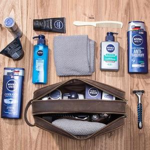 Image 3 - CONTACTS neceser de cuero de vaca crazy horse para hombre, bolsa de aseo de viaje de gran capacidad, organizador de bolsas de maquillaje