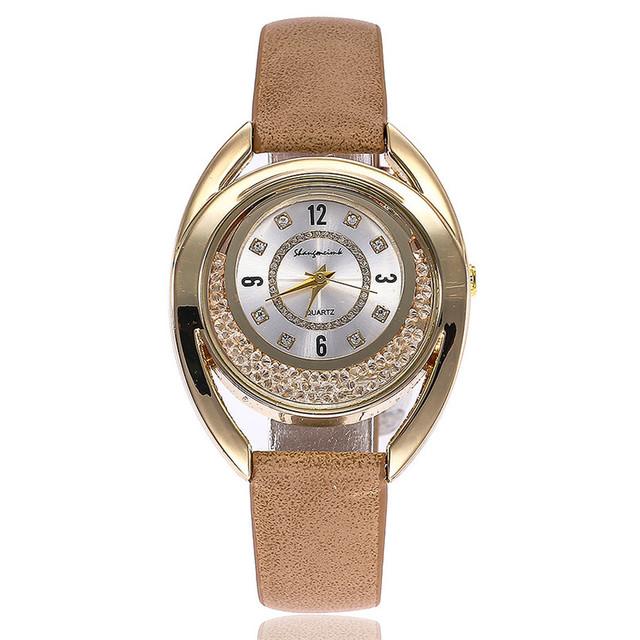 Rhinestone Leather Analog Quartz Wrist watch